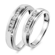 3 8 carat t w trio matching wedding ring set 14k yellow gold 1 8 carat t w his and hers wedding band set 10k white gold