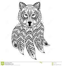 vector ornamental wolf with dreamcatcher ethnic zentangled stock