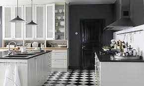 tile floors black and white tiles in kitchen island butcher block