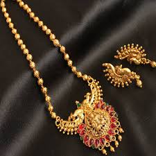 antique necklace chains images Antique temple jewellery long chains dhanalakshmi jewellers jpg