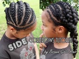 side cornrows tutorial on natural girls hair youtube