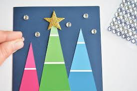 christmas cards to make paint chip christmas cards paint swatch christmas trees