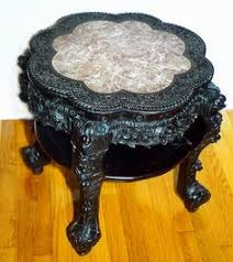 chinese rosewood side table chinese short teakwood stand w marble inlay chinese hand carved