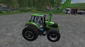 deutz fahr 7250 ttv dual wheel with front loader tractor v1