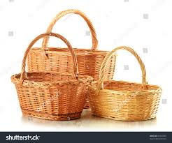 three empty wicker baskets isolated on stock photo 81546589