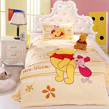 Winnie The Pooh Duvet Designer Bedding New Cotton King Size Bed 3 4pcs Sheet Winnie The