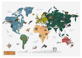 Uk World Map by World Map Katie Cardew Illustrations