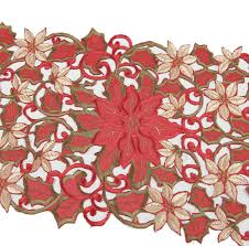 Holiday Table Runners by Amazon Com Simhomsen Christmas Holiday Poinsettia Lace Table