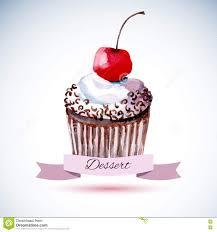 Cherry Cupcake Invitation Card Royalty Beautiful Happy Birthday Card Stock Vector Image 72825289