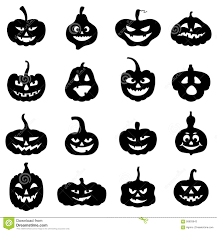halloween silhouette vector halloween pumpkins different form with scary faces stock vector