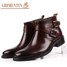 s boots buckle grimentin boots genuine leather buckle black brown