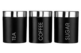 premier housewares liberty tea coffee and sugar canisters black