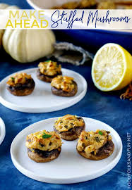make ahead stuffed mushrooms with goat cheese and pine nuts are a