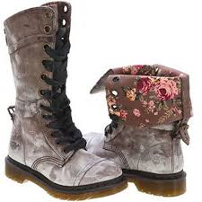 womens combat boots uk dr doc martens triumph brown leather floral cuff combat boots