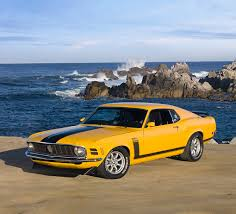 Yellow Mustang With Black Stripes 1970 Ford Boss 302 Mustang Bus Yellow With Black Stripe 3 4