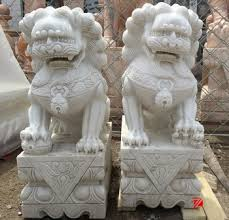 lion dog statue white marble caved lion foo dog fu dog statue for