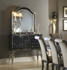 hollywood swank dining table in black silver finish by aico aico