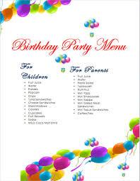 sample party menu template tea party menu template google