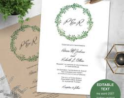 wedding invitations greenery greenery invitation etsy