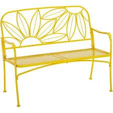 Garden Treasures Patio Bench Mainstays Hello Sunny Outdoor Patio Bench Yellow Walmart Com