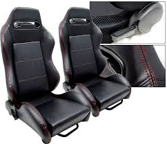 mustang seats ebay 2 black leather stitch racing seats reclinable acura ebay