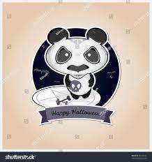 happy halloween cute images halloween sugar skull spooky panda badge stock vector 329136182