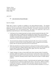 project manager resume cover letter assistant manager job seeking