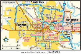 map of oregon eugene eugene oregon area map stock vector 144155626