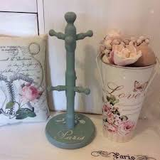 shabby chic paris mug tree stand painted in duck egg annie sloan