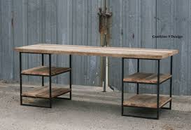 buy handmade reclaimed wood desk oak with shelves industrial