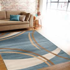 contemporary modern wavy circles blue area rug 5 u00273 x 7 u00273
