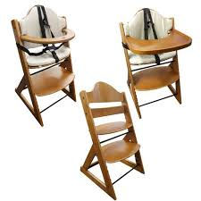 Infant High Chair Wooden Baby High Chair 3in1 With Tray And Bar Teak Baby