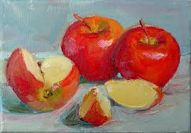 art every day cut apples still life oil on canvas 5x7 price 100