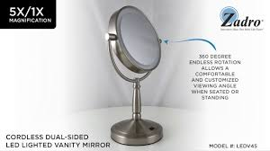 Makeup Mirror Lighted Zadro Cordless Dual Sided Led Lighted Vanity Mirror 5x 1x Youtube