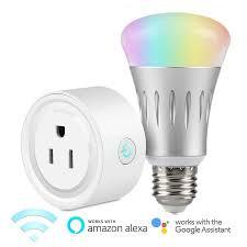 alexa light bulbs no hub tsv wifi smart led light bulb with smart plug socket us outlet work