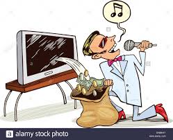 cartoon illustration of singing pop star who receive profit from