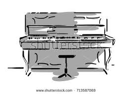 piano keyboard black white vector sketch stock vector 673961599
