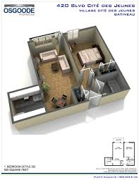 3d floor plan 1 bedroom small 1 bed village cité des jeunes