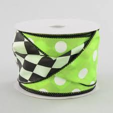 sided ribbon 2 5 polka dot harlequin 2 sided ribbon lime white 10 yards