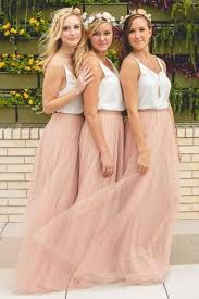 simple wedding dresses for brides looks and beautiful with blush bridesmaid dresses