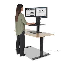 sit and stand desk converter high rise collection dual monitor sit stand desk converter