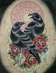 neo traditional crow tattoo design real photo pictures images