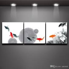 Fish Decor For Home 2017 3 Panel Picture Chinese Ink Style Fish Oil Painting Print On