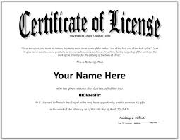 search results for ordained minister certificate license