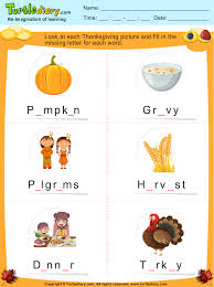 fill in the missing letter in thanksgiving words worksheet turtle