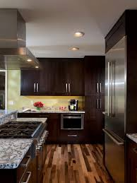 to add contrast to the dark contemporary wood cabinets beautiful