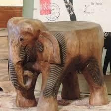 buy imported thai teak carved antique wood elephant elephant stool