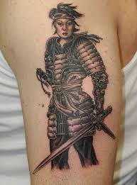 nice sword with samurai warrior japanese tattoo design on bicep