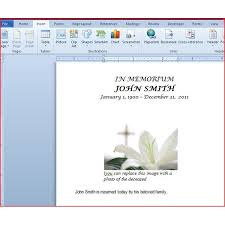 Funeral Program Sample Free Microsoft Word Funeral Program Template