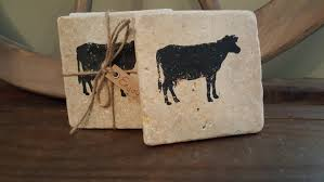 home decor gift items coasters stone coasters cow coasters cow gifts country home